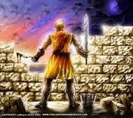 WP Neh 4 sword and trowel at wall